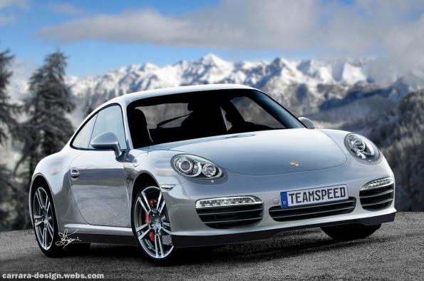 Imagem do Novo Porsche 911 Carrera 2012 em uma simulação feita no final de 2010